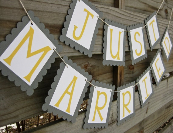 Just Married Wedding Banner in Custom Colors