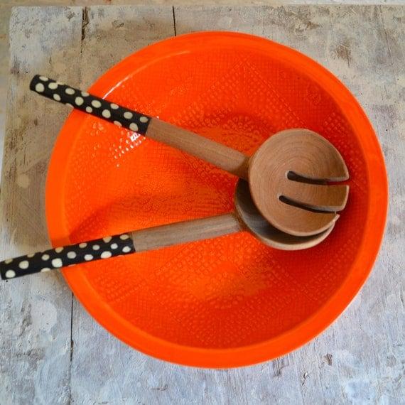 Orange Bowl - large handmade bowl - Wobbly Plates Series