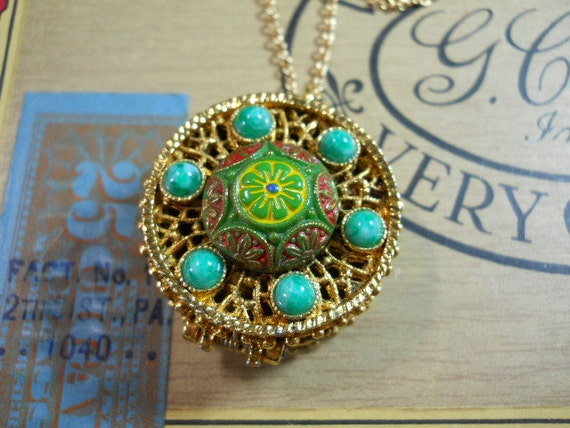 Vintage Locket Secret Compartment Necklace with Ornate Stones on Long Chain
