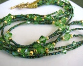 Necklace - Triple Strand Made With Swarovski Peridot Crystals- Handmade