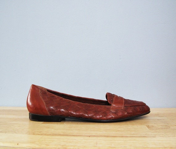 vintage BASS woven leather brown flats loafers deadstock 8