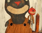 Pritty Kitty  Large Primitive Grubby Halloween Cat-Kitty-Sitter tuck-with Pumpkin OFG
