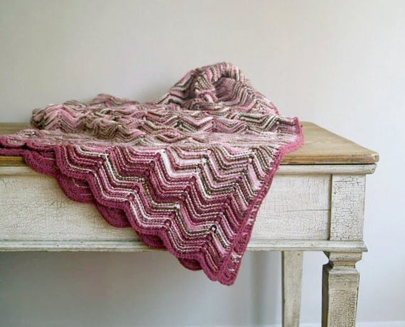 Vintage Missoni Inspired Knit Afghan, Vintage Knit Throw in Mauve, Pink and Chocolate
