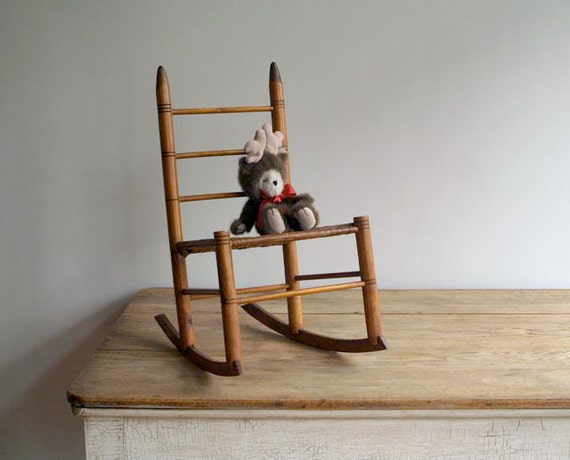 Antique Child S Ladderback Rocking Chair By 5gardenias On Etsy