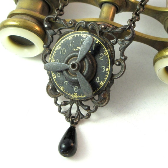 Steampunk Propeller Necklace OOAK Noir Neo Victorian Gothic Exclusive Design By Mystic Pieces