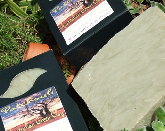 AUSTRALIAN Green Clay PATCHOULI ESSENTIAL Oil Handmade Soap Bar (Vegan Friendly)