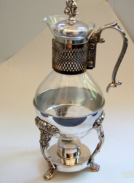 vintage silverplate and glass carafe coffee by grandmastopdrawer. Black Bedroom Furniture Sets. Home Design Ideas