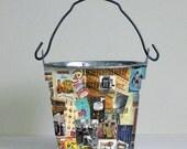 Decoupage Storage Bucket--School Daze--Retro School