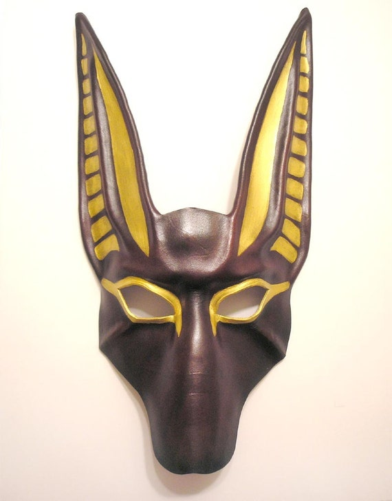 Anubis Leather Mask larger size longer ears in deep reddish brown