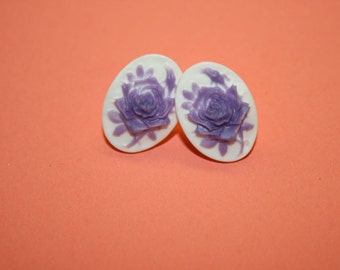 Small Lavender Rose Cameo Earrings