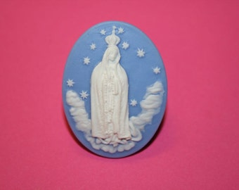 Large Blue Mother Mary in Heaven Cameo Ring