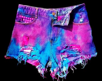 NEON explosion Tie dye OMBRE Pink blue Studded high waist denim Shorts punk Rave