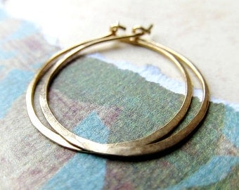 14k Gold Hoop Earrings, 1 Inch