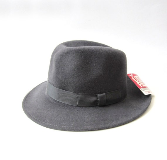 RESERVED  -  NOS Grey Wool Bow Tie Fedora Hat