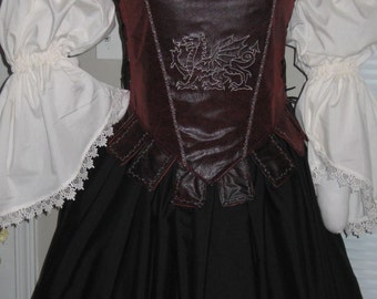 DDNJ Choose Fabric Reversible Muffin Top Style Corset Side Lace Tabs Plus Custom Made ANY Size Renaissance Pirate Anime Medieval Costume SCA