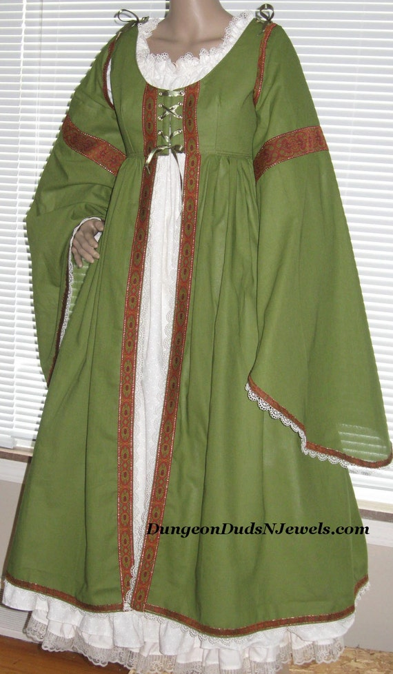 DDNJ Choose Color Renaissance Maiden Overdress Detachable Trumpet Sleeves Plus Custom Made ANY Size Costume Larp Anime Pirate Wench Medieval