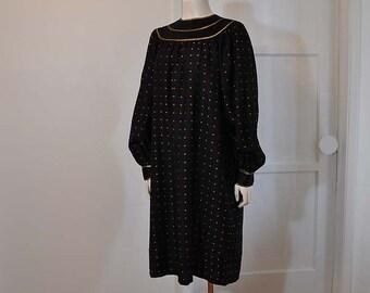 1980s dress / Vintage 80's Geoffrey Beene Gold Metallic Silk Dress