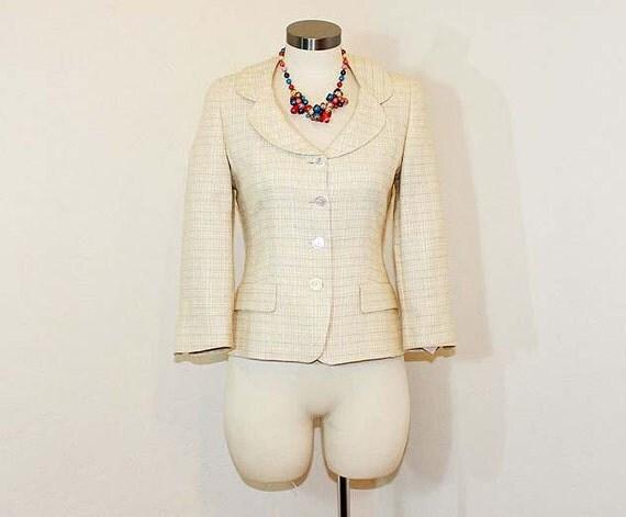 1980s jacket / Vintage 80's jacket / Louis Feraud Tweed Blazer