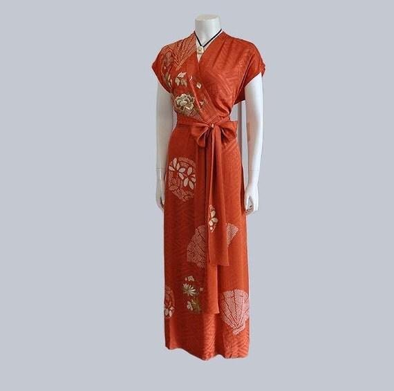 Reserved for Brette  40s dress / Vintage 1940's Metallic Floral Kimono Silk Fabric Maxi Dress