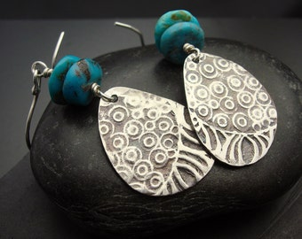 Earrings, silver and turquoise, artisan, handmade, Circle Back - Turquoise and Sterling Silver Dangle Earrings