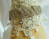 Sarah ..  Vintage inspired Lace and Crystal bridal cuff bracelet