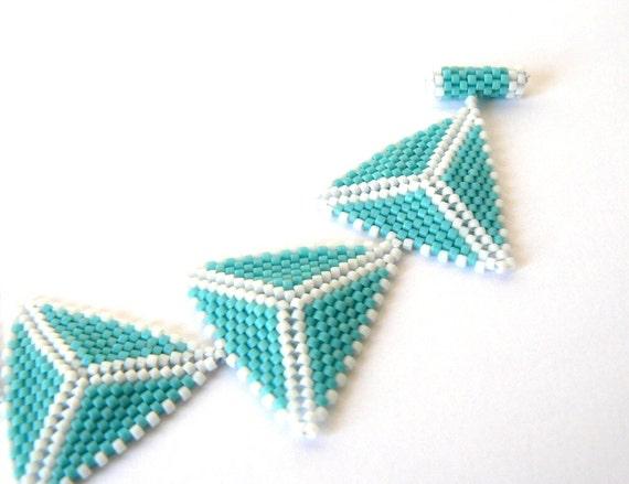 Aqua Triangle Bracelet Turquoise and White Beadwork Bracelet Beaded Geometric Cuff Bracelet Bead Weaving Jewelry Free Shipping