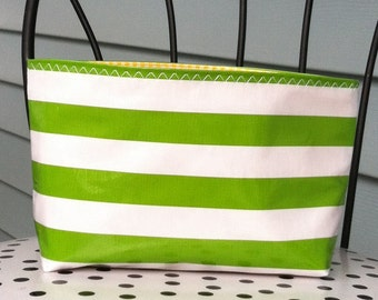 Beth's Small Green Stripes Oilcloth Cosmetic Bag