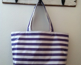 Beth's Big Purple Lovers Stripes Oilcloth Market Tote Bag