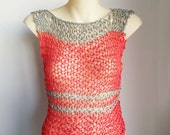 Knit tank coral red summer vest string tee grey and orange cotton acrylic