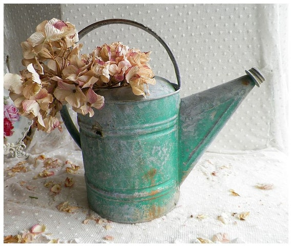 Vintage Well Worn Galvanized Farmhouse Watering Can