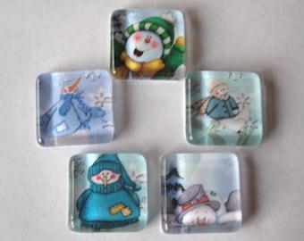 Fun Snowmen Square Glass Magnets Set of 5