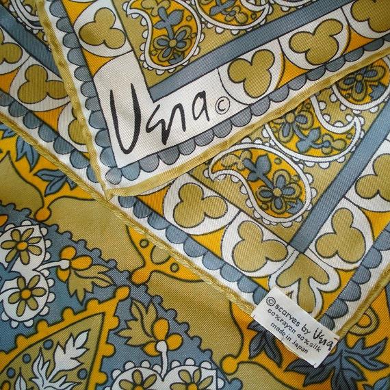 Vintage VERA Scarf - Orange and Gray PAISLEY Pattern - Hand Rolled hem