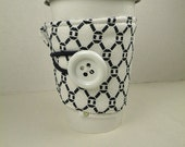 Coffee Tea Cozy Sleeve Adjustable  STORM KNOTS in Navy & White  Java Bling