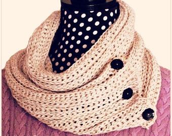 Download Now - CROCHET PATTERN Knit-Look Crocheted Cowl Scarf - Pattern PDF