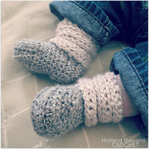 Download Now - CROCHET PATTERN Slouchy Baby Boots - 0-12 mos - Pattern PDF