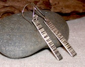 Long Earrings Hand Forged Metal, Hammered Sterling Silver Stick Earrings, Modern Earrings with a Rustic Naturalist Twist by LindaGeez