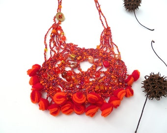 SALE Scarlet summer II necklace, free form peyote stitch wearable art red beadwork, marked down 50%, statement necklace
