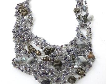 Silver night II necklace, free form peyote stitch wearable art bib necklace, romantic, Coachella, bohemian, statement