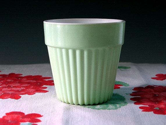 Hazel Atlas Planter Ribbed Fired On Platonite Mint Green Milk Glass Flower Pot Shabby Cottage Chic Vintage 1950s Mint