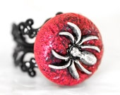 She Bites. Spider Ring Gothic Adjustable Black Filigree Band in Textured Ruby Red Polymer Clay