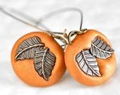 Bohemian Autumn Nature Earrings Fall Fashion Falling Bronze Leaves in Golden Orange Polymer Clay