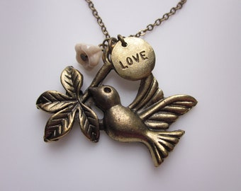 Love and Peace Bird Necklace, Bird with Leaves and LOVE charms, Romantic Wedding Themed Jewelry