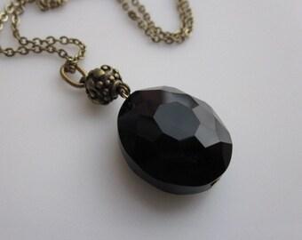 Resurrection Stone Necklace, Black Crystal Pendant, Vintage Style, Antique Gold, Oval Stone Necklace, Sorcerer Stone