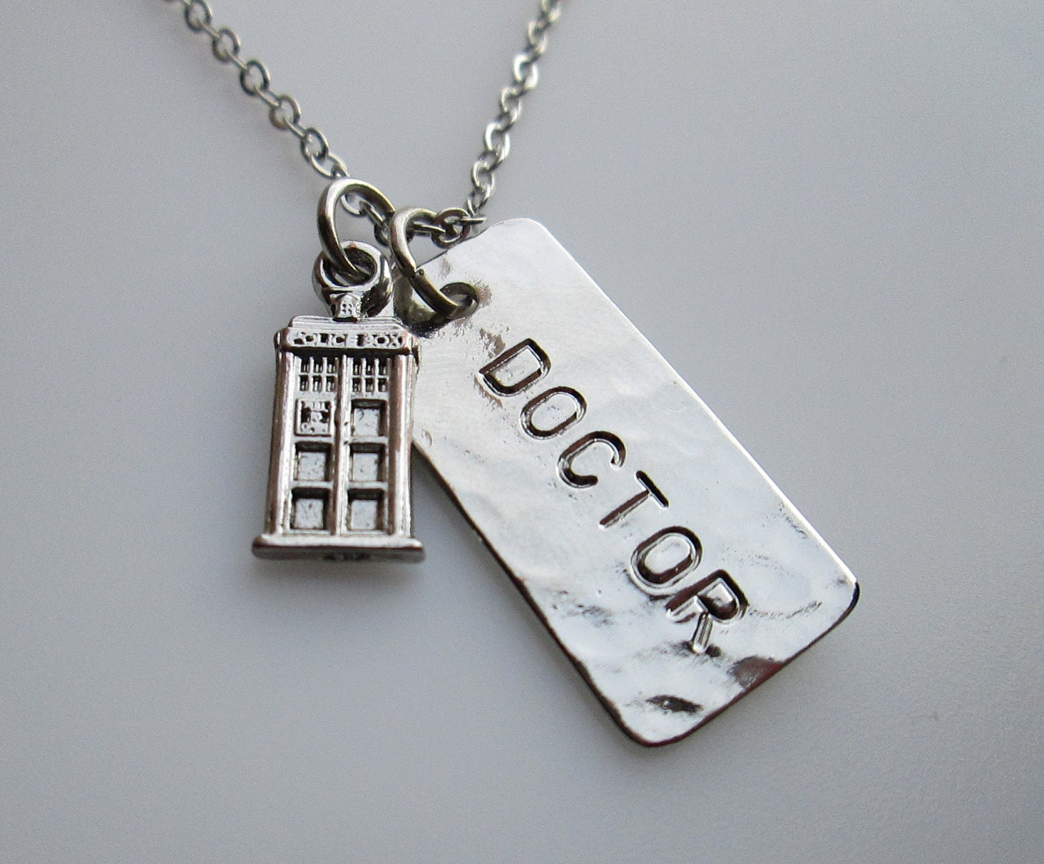 doctor who tardis necklace tiny tardis charm with doctor tag