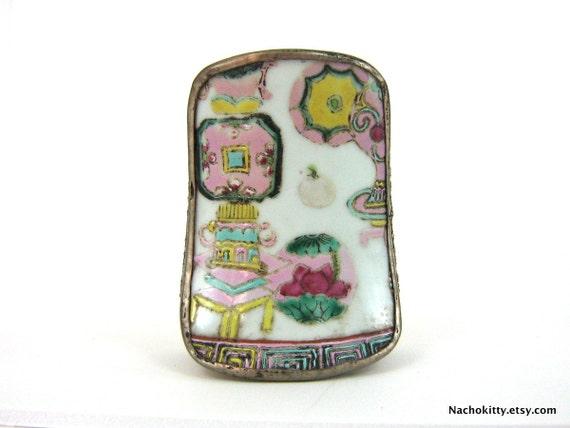1950s Asian Porcelain & Tin Storage Box