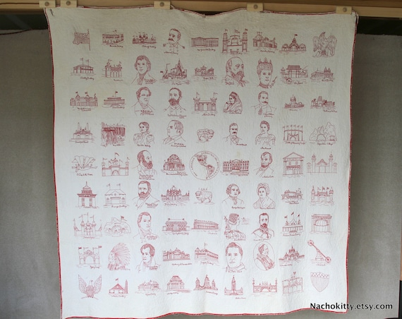 1901 Pan American Exposition Quilt, Worlds Fair Antique Americana