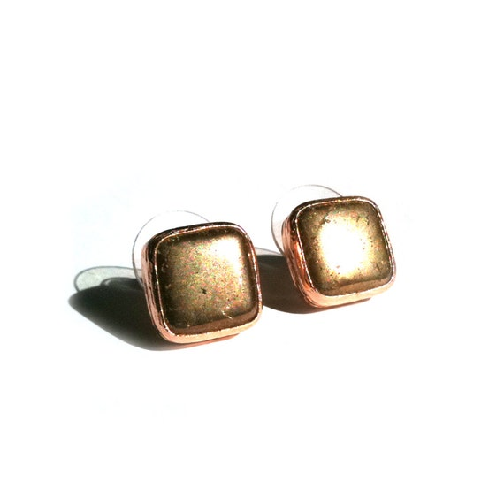 Pyrite Square Dainty Earrings