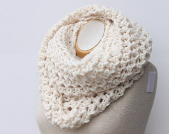 Cream Infinity Scarf, Cowl Scarf, Snood, Fisherman Cream Scarf, Off White Scarf