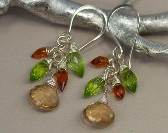Gemstone Dangle Earrings, Golden Champagne Quartz Green Peridot Madeira Citrine