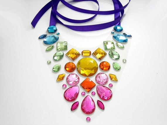 Exotic and Colorful Rainbow Rhinestone Statement Necklace, Bright Floating Illusion Jewellery, Blue, Green, Yellow, Orange, Pink